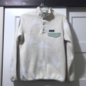 Patagonia cream and mint synchilla pullover